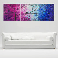 """36"""" Love birds wall art - acrylic painting Wall decor Wall art wall hangings Decortive arts """"Love &romance""""by qiqigallery"""