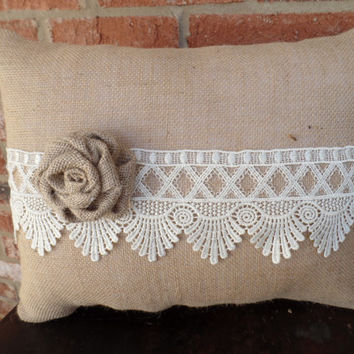 "Natural Colored Burlap Pillow with Beautiful Lace and Handmade Rose, cottage style wedding decor, decorative pillow m 14"" x 18"""