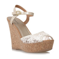 Ivory Lace & Tan Peep Toe Clemence Faux Cork Wedges