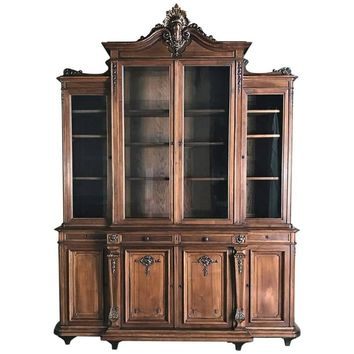19th Century French Walnut Louis XIV Grand Bookcase