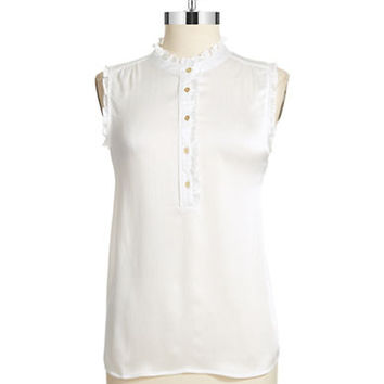 Tahari Arthur S. Levine Ruffled Sleeveless Top