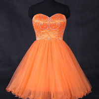 Orange Sweetheart Short Beading Prom Dress/Ball Gown 2016 Bridesmaid Dresses/Lace Up Beach Wedding Party Dresses/Homecoming Dress  WDD040