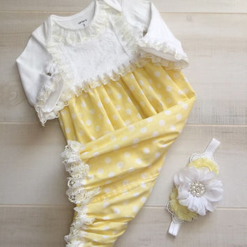 Yellow Baby Girl Outfit Gown-Polka Dots Baby Layette Sleeper Headband-Easter Baby Girl Dress-Church Gown-Newborn Photo Prop-Coming Home-Baby