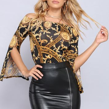 Golden Glam Treasure Top - Black/Gold
