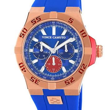 Vince Camuto Mens The Master Red Steel Watch