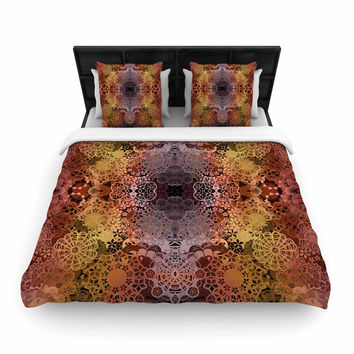 """Pia Schneider """"Floral Fall Pattern"""" Maroon Floral Woven Duvet Cover"""