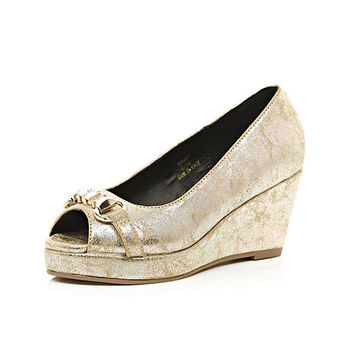 River Island Girls gold metallic wedge shoes