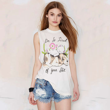 White Sleeveless Cat + Puppy Graphic Tee