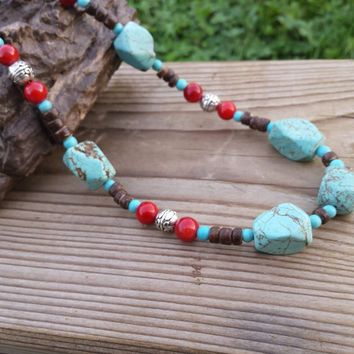 Bohemian Necklaces, Boho Long Necklace, Turquoise Red Coral Boho Style Necklace, Women Necklaces Women Boho Necklace, Hippie Coconut Holiday