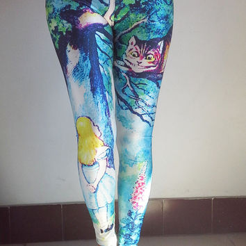 ALICE IN WONDERLAND Leggings -Cheshire Cat Leggings, Womens Tights , Elastic Women Leggings , Yoga Leggings, Yoga Pants