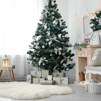 Simple Modern Interior Christmas Tree with Bows Printed Backdrop - 15014