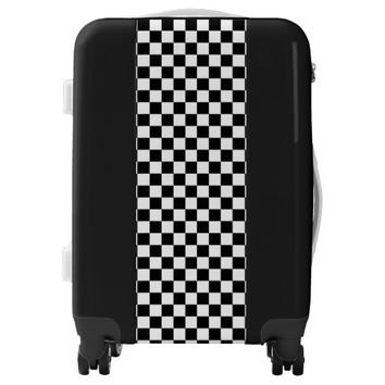 Black and White Checkerboard Luggage