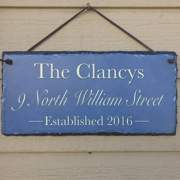 Handmade and Customizable Slate Home Address Sign - Name, Address, Date Established