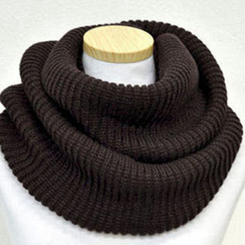 Coffee Knit Funnel Scarf
