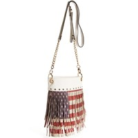 RedWhiteBlue Flag Fringe Cross body Bag