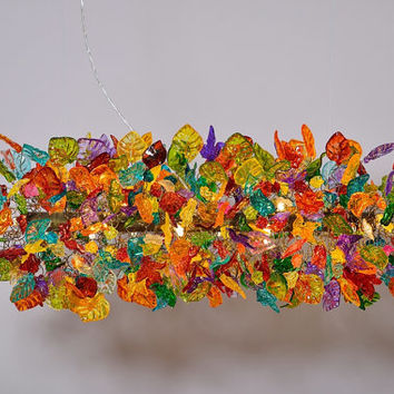 Ceiling light fixture, multicolored flowers and leaves