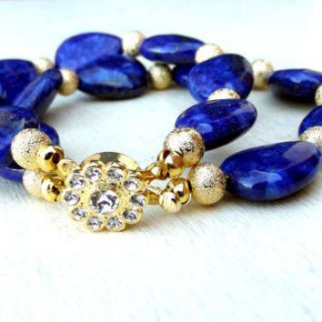 Lapis Bracelet: Double Strand Chunky Bracelet, Galaxy Royal Navy Blue and Gold Beaded Stone Bracelet with Crystal Flower Clasp