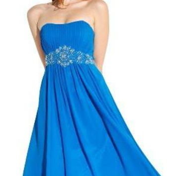 Knee Length Strapless Chiffon Goddess Gown