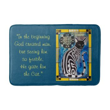 Cats Wisdom Quote Cat with Mandala Bath Mat