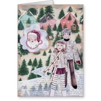 Night Before Christmas Vintage Ice Skaters Card
