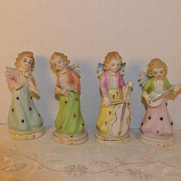 Angel Musicians Figurines Set of 4 Vintage Japan Ceramic Pastel Painted Cherub Figurines Mid Century Christmas Holiday Religious Decor