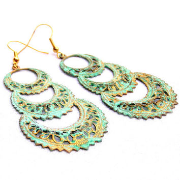 Verdigris Chandelier Earrings, Metal Earrings, Green Earrings, Antiqued Earrings, Lace Look, Metal Jewelry, Pastel Jewelry