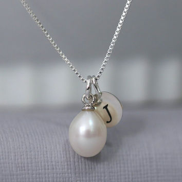 Custom Initial Freshwater Pearl Necklace