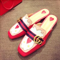 GUCCI New Style Trending Ladies Stripe Double G Flat Sandals Slippers Shoe