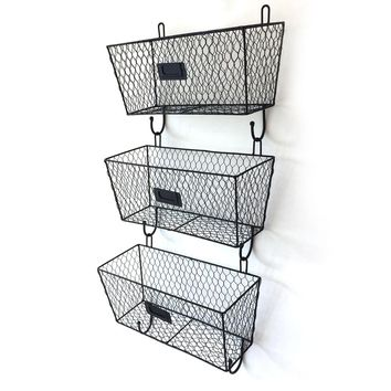 3pcs Wire Letter Mail Mount Metal Rack Basket Vintage Triple Organizer Black