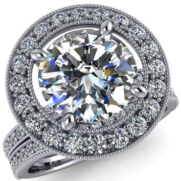Emilia Round Moissanite Airline Halo Unique Milgrain Half Eternity Engagement Ring