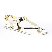 MICHAEL Michael Kors MK Plate Jelly Sandals - Gold