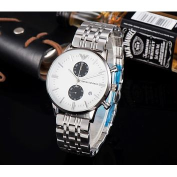 PEAP A0019 Armani Business Waterproof Steel Watchand Men's Timing Watch Sliver White Black