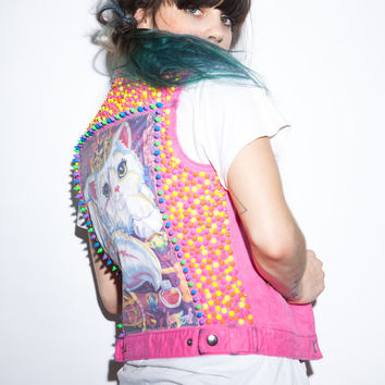 Hot Pink Lisa Frank Spiked and Studded DIY Denim Vest