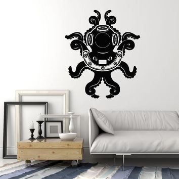 Vinyl Wall Decal Diver Helmet Octopus Tentacles Nautical Marine Decor Stickers Mural Unique Gift (ig5079)