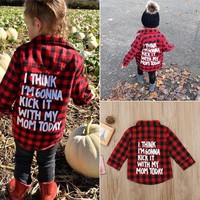 Fashion Toddler Kid Baby Boy Girl Printed Plaid Tops Long Sleeve T-shirt Clothes