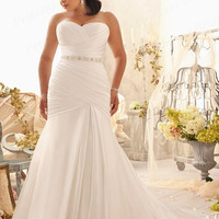 Free Shipping Discount Fishtail Sweetheart Court Train Beaded Waist Pleats Satin Wedding Dresses Plus Size Bridal Gowns AW461