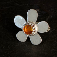 Amber Flower Sterling Silver Cocktail or Bridesmaid Ring