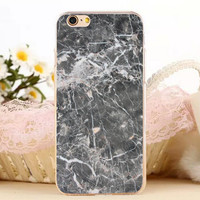 Gray Black Marble Stone iPhone 7 7 Plus iPhone se 5s 6 6s Plus Case Cover + Gift Box