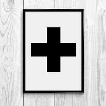 Black Cross, Scandinavian Art Poster, Swiss Cross Black & White Printable Art, Modern Art Print