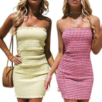 Fashion Off Shoulder Checkered Summer Dress Strapless Smocking Casual Dress Sundress Slim Short Sexy Dresses