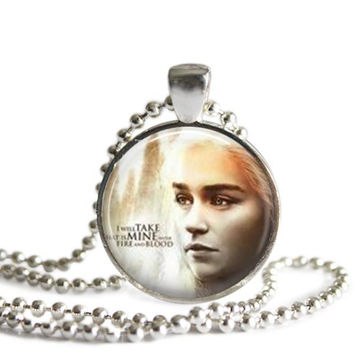 Daenerys Targaryen Silver Plated Picture Pendant Necklace Game of Thrones