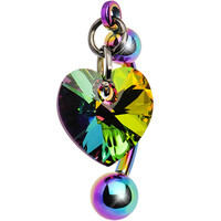 Top Mount Titanium Crystal Vitrail Heart Belly Ring MADE WITH SWAROVSKI ELEMENTS | Body Candy Body Jewelry