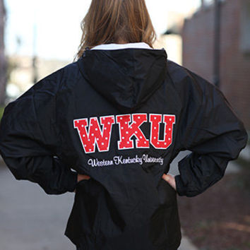 Western Kentucky University Stitched Letter Rain Jacket with Monogram - Ladies Rain Jacket