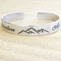 Adventure Awaits, Nature Jewelry, Mountain Jewelry, Personalised Gift, Personalized Cuff Bracelet, Engraved Bracelet, Silver Bangle