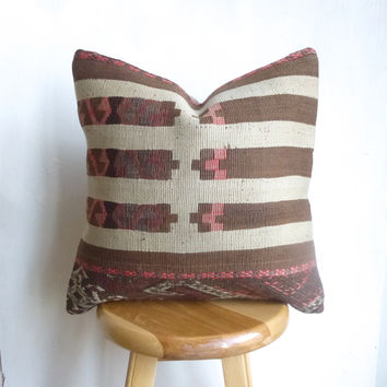 Pretty Brown and Dusty Pink Kilim Pillow Cover hand woven in Turkey