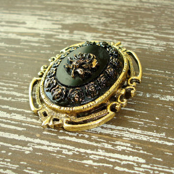 Vintage Gold Rose Brooch or Pendant, Black Glass Painted Flower Pin, Ornate Framed Cameo, Victorian Baroque Jewelry, Estate Find