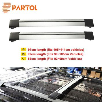 Partol 2x Car Roof Rack Crossbar Roof Luggage Carrier Roof Rail Top Box Snowbord Bike Carrier Rack With Anti-theft Lock System