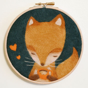 Needle Felted Embroidery Hoop Wall Art 'Tea Time Fox' - Textile Artwork 6""