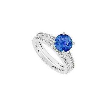 14K White Gold Blue Sapphire & Diamond Engagement Ring with Wedding Band Sets 1.25 CT TGW
