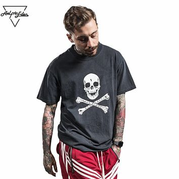 Skull Printed T Shirts Streetwear Hip Hop Cotton